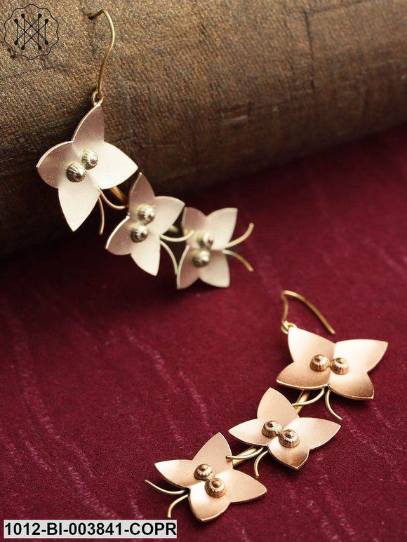 Prita Rose Gold-Toned & Gold-Toned Copper-Plated Handcrafted Butterfly Drop Earrings