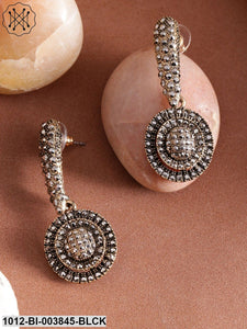 Prita Charcoal Grey Antique Gold-Plated Circular Drop Earrings
