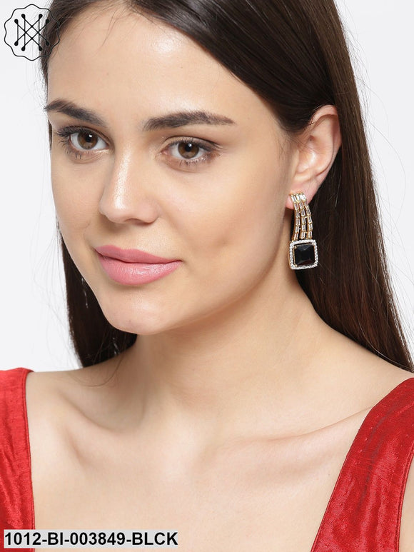 Priyaasi Black Gold-Plated Stone-Studded Handcrafted Drop Earrings