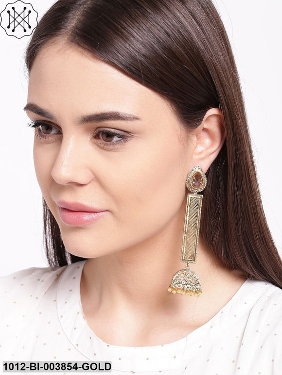 Priyaasi Gold-Plated Stone-Studded Beaded Handcrafted Drop Earrings