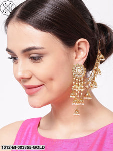 Priyaasi Off-White 18K Gold-Plated Beaded Handcrafted Jhumkas With Ear Chain