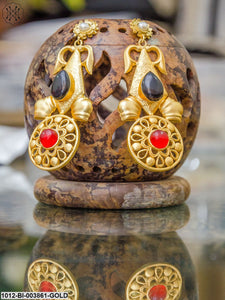 Priyaasi Black & Red Gold-Plated Handcrafted Classic Drop Earrings