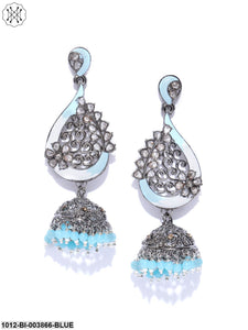 Priyaasi Gunmetal-Toned & Blue Rhodium Plated Stone-Studded Enamelled Dome Shaped Jhumkas