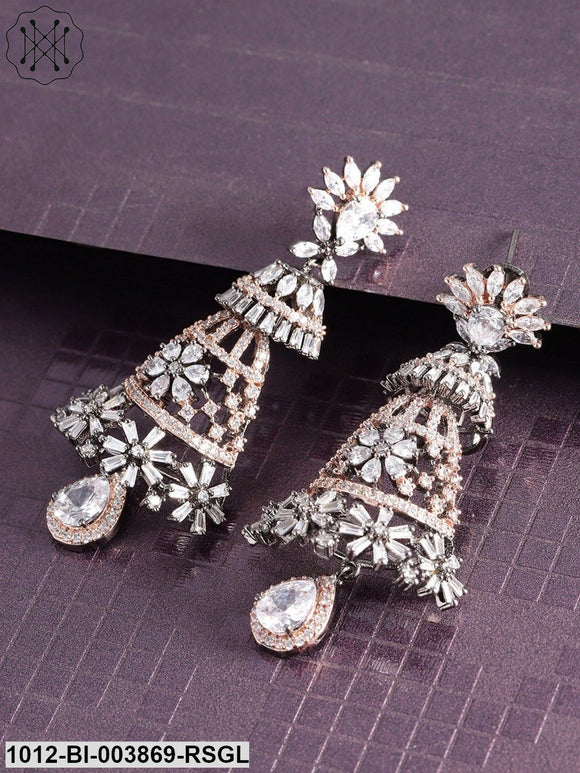 Priyaasi Gunmetal-Toned & Rose Gold-Toned Rhodium-Plated CZ Studded Drop Earrings