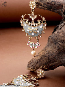 Priyaasi Grey Gold-Plated Enamelled Kundan-Studded Handcrafted Classic Drop Earrings