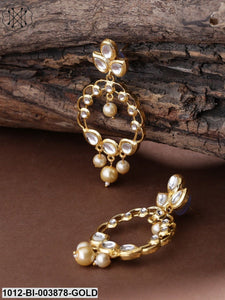 Priyaasi Gold-Plated Kundan-Studded Handcrafted Oval Drop Earrings