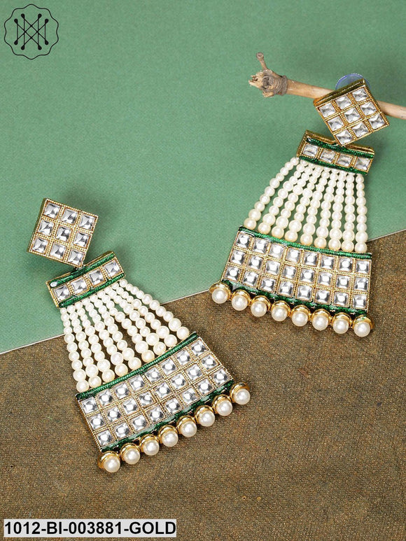 Priyaasi Green & White Gold-Plated Handcrafted Classic Drop Earrings