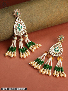 Priyaasi Green & White Gold-Plated Handcrafted Teardrop Shaped Drop Earrings