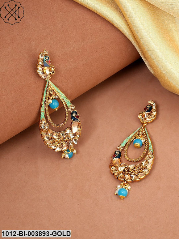 Priyaasi Blue Gold-Plated Handcrafted Peacock Shaped Drop Earrings