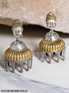 Priyaasi Oxidised Silver-Toned Antique Gold-Plated Lord Buddha Dome Shaped Jhumkas