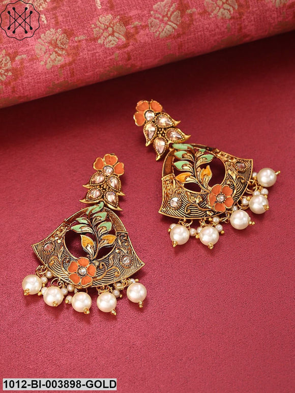 Priyaasi Coral Orange & Mint Green Antique Gold-Plated Hand Painted Floral Drop Earrings