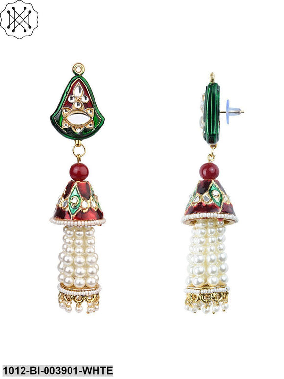 Priyaasi Shining Stylish Fancy Party Wear Traditional Pearl Jhumka/Jhumki Earrings