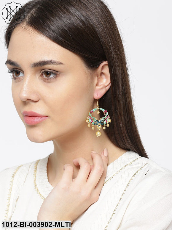 Prita Green & Pink Gold-Plated Peacock Shaped Beaded Drop Earrings