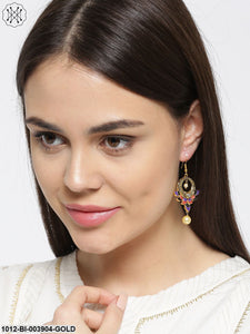 Prita Purple Gold-Plated Classic Hand Painted Drop Earrings