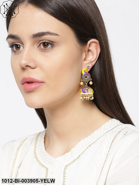 Prita Yellow & Purple Antique Gold-Plated Hand Painted Peacock Shaped Jhumkas