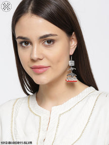 Prita Oxidised Silver-Toned Dome-Shaped Jhumkas