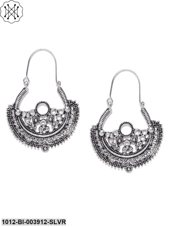 Prita Bollywood Fashion Tibetan Oxidized/Germen Silver Hoop Earrings