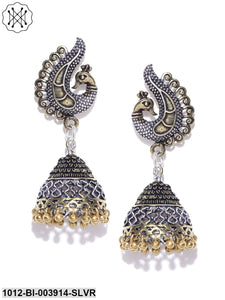 Prita Gold-Toned Oxidised Silver-Plated Peacock Shaped Jhumkas