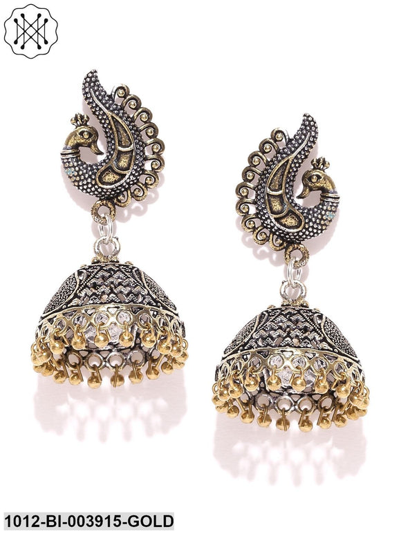 Prita Antique Gold-Toned Oxidised Silver-Plated Peacock Shaped Jhumkas