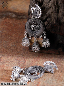 Priyaasi Oxidised German Silver Peacock-Shaped Drop Earrings With Silver Plating
