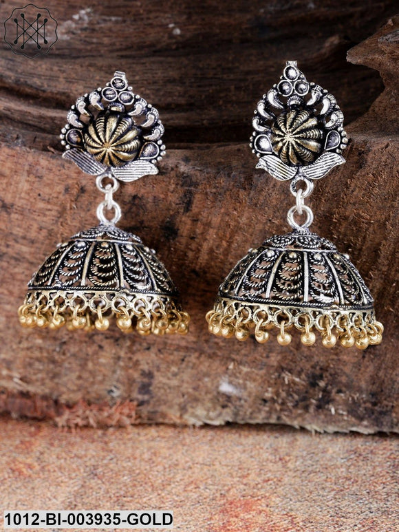 Priyaasi Silver-Toned & Gold-Toned German Silver Oxidised Jhumkas With Silver Plating