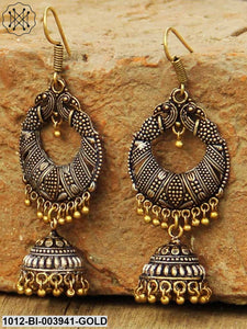 Prita Antique Gold-Toned Oxidised Silver-Plated Dome-Shaped Jhumkas