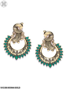 Prita Antique Gold-Toned & Green Brass-Plated Peacock-Shaped Chandbalis
