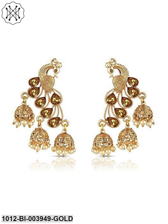 Peacock Shaped Gold Plated Earring With Jhumki