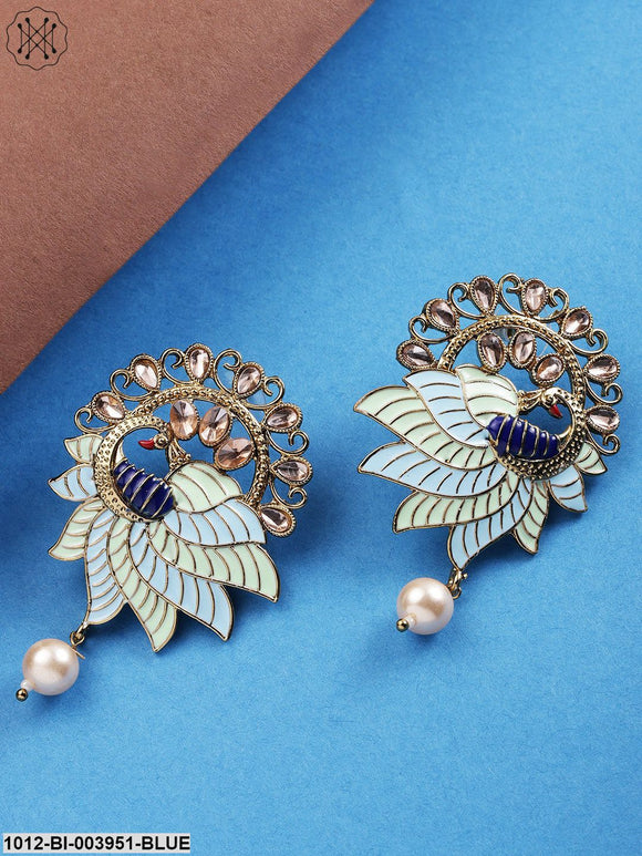 Priyaasi Blue & Green Gold-Plated Handcrafted Peacock Shaped Drop Earrings