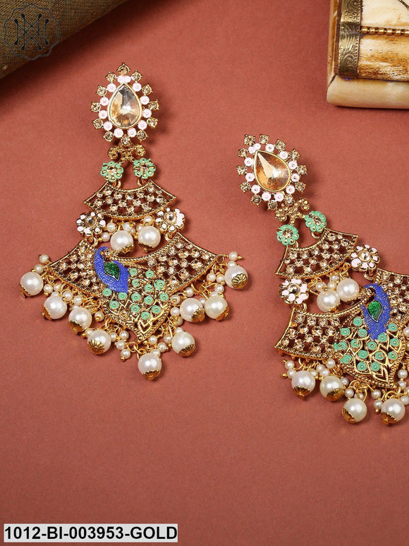 Priyaasi Green & Pink Gold-Plated Stone-Studded Handcrafted Peacock Shaped Drop Earrings