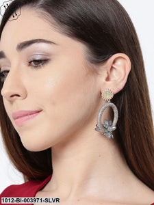 Prita Grey Gold-Plated Handcrafted Geometric Drop Earrings