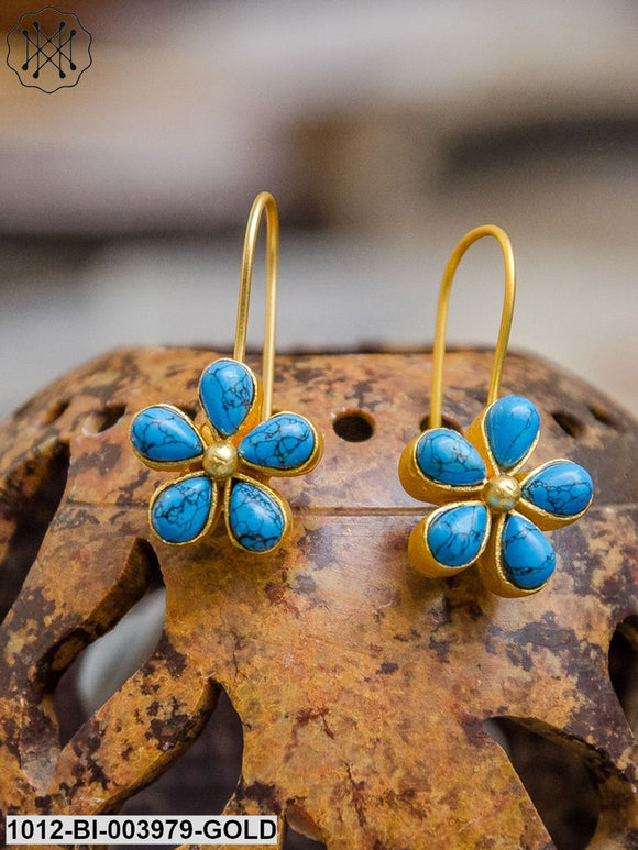 Priyaasi Blue Gold-Plated Floral Beaded Handcrafted Drop Earrings