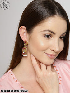 Priyaasi Pink Gold-Plated Handcrafted Classic Drop Earrings