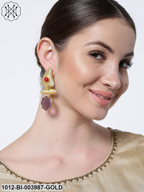 Priyaasi Purple Gold-Plated Handcrafted Leaf Shaped Drop Earrings