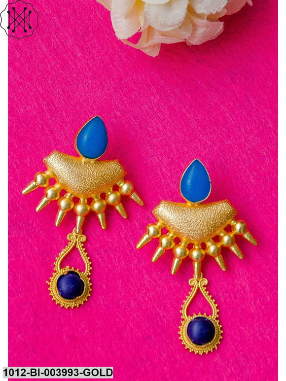 Priyaasi Blue Gold-Plated Handcrafted Classic Drop Earrings