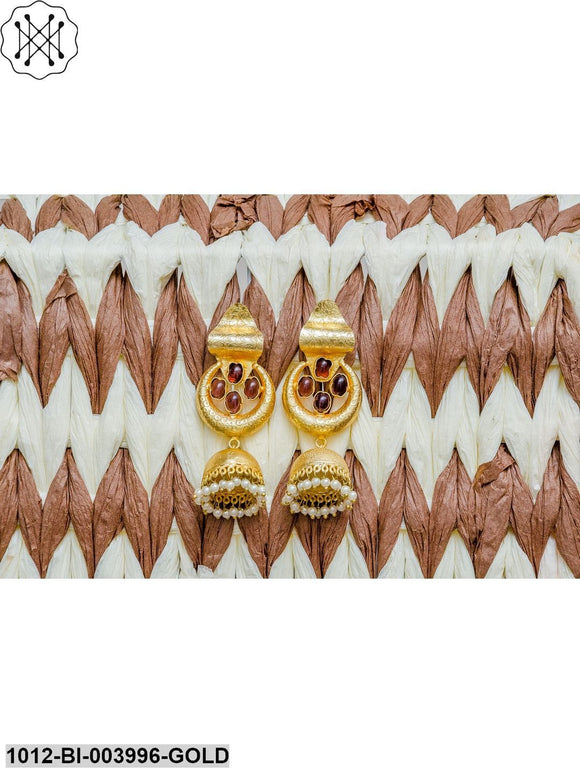 Priyaasi Maroon Gold-Plated Handcrafted Dome Shaped Jhumkas
