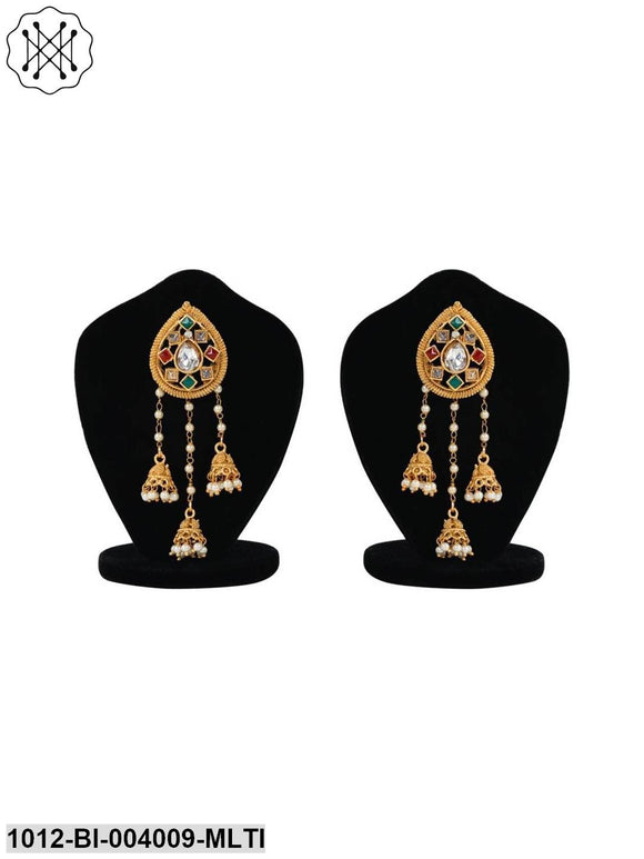 Party Wear 18k Kundan Gold Plated Red & Green Polki & Pearl Jhumki/Jhumka Earrings