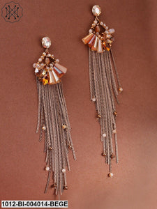 Prita Beige Gold-Plated Handcrafted Tasselled Contemporary Drop Earrings