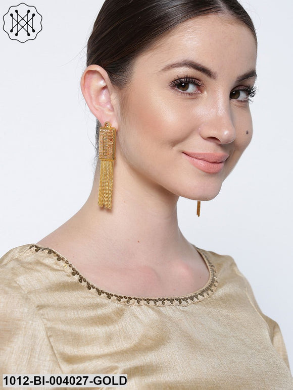 Priyaasi Gold-Plated Tasselled Geometric Drop Earrings