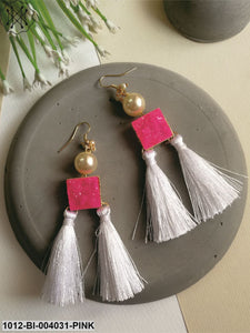 Priyaasi Pink & White Gold-Plated Tasselled Drop Earrings