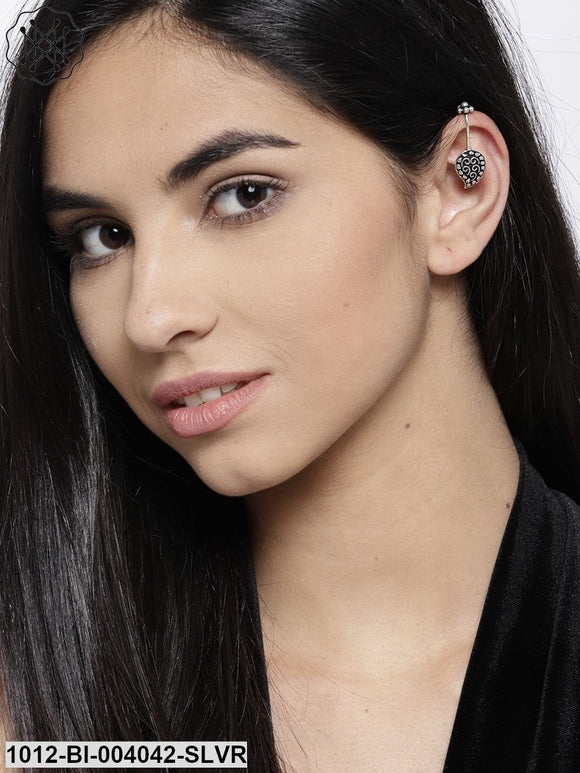 Prita Oxidised Silver-Plated Paisley Shaped Ear Cuff