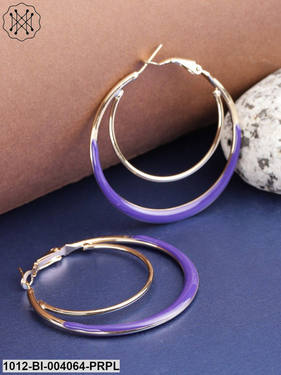 Prita Purple Gold-Plated Enamelled Circular Hoop Earrings