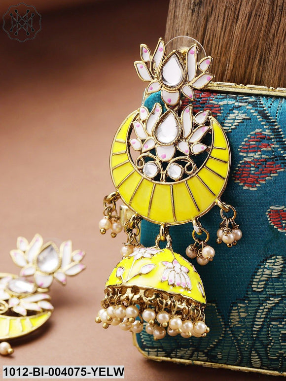 Priyaasi Yellow Gold-Plated Hand Painted Kundan Studded Jhumkas