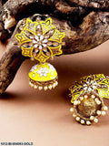 Priyaasi Yellow Gold-Plated Enamelled Handcrafted Stone-Studded Floral Jhumkas
