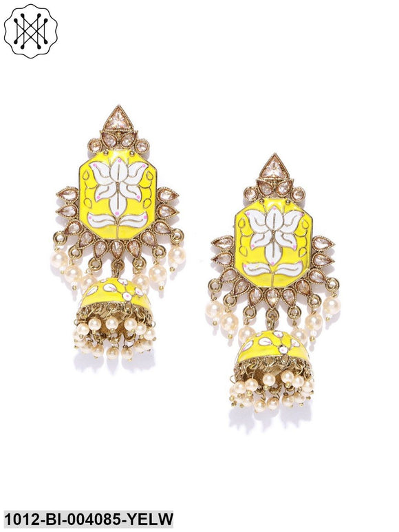 Hand Crafted Gold plated Yellow Jhumka earring