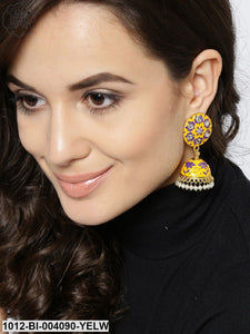 Prita Yellow Gold-Plated Dome Shaped Jhumkas