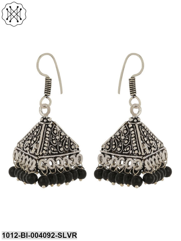 Prita Black Oxidised Silver-Plated Textured Jhumkas