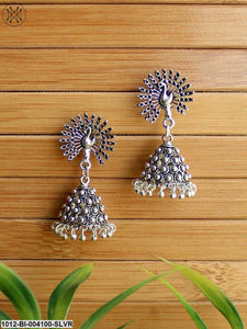Prita Oxidised Silver-Plated Peacock-Shaped Jhumkas