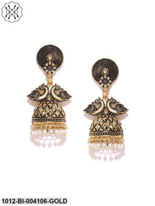 Prita Antique Gold-Plated & White Peacock Shaped Jhumkas