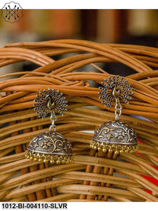 Prita Silver & Gold-Plated Peacock Shaped Jhumkas